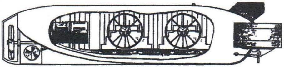 Подводная лодка Бауэра «Зеетойфель» - «Морской чёрт», - предполагаемая схема устройства, Россия, 1855 г.