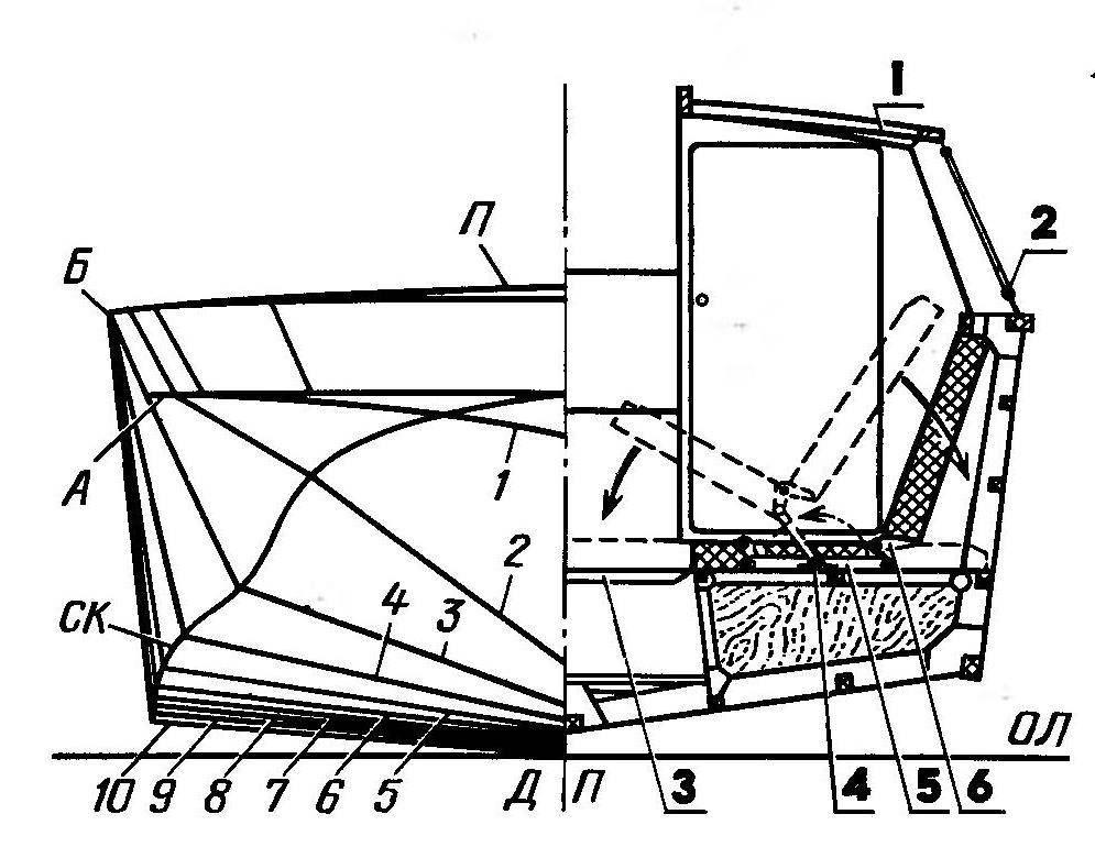 Теоретические обводы корпуса и конструктивное сечение по миделю