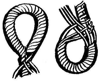 Рис. 2. Способ заделки концов веревки в петлю (два варианта)