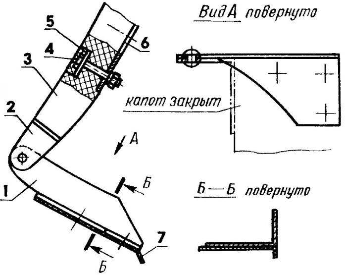Схема подвески капота