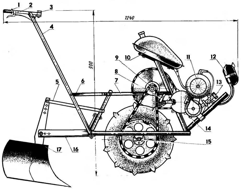 Компоновка мотокультиватора (защитные кожухи сняты)