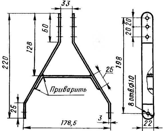 Кронштейн крепления основной стойки (Ст3, полоса 22x3)