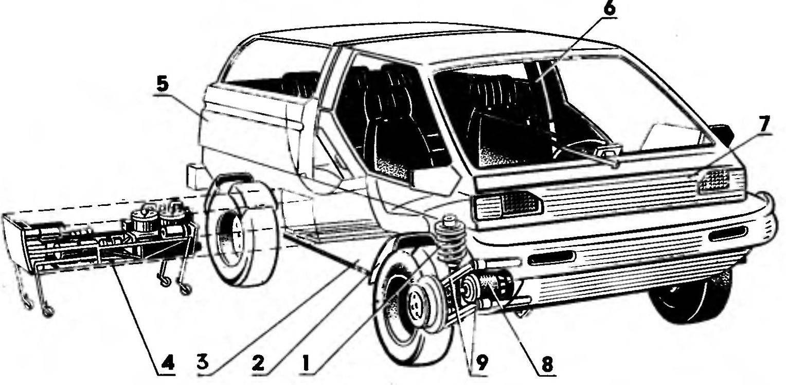 Рис. 2. Компоновка электромобиля