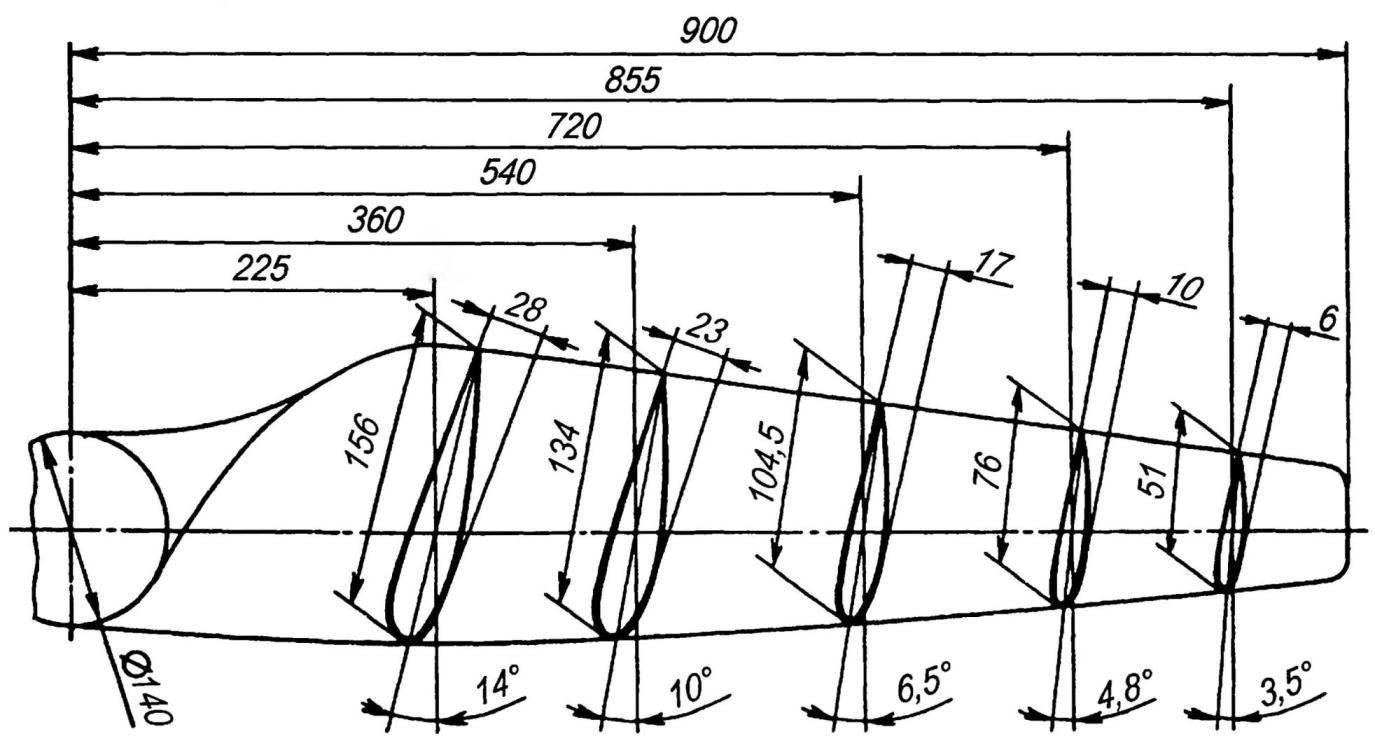 Теоретический чертёж двухлопастного ветроколеса