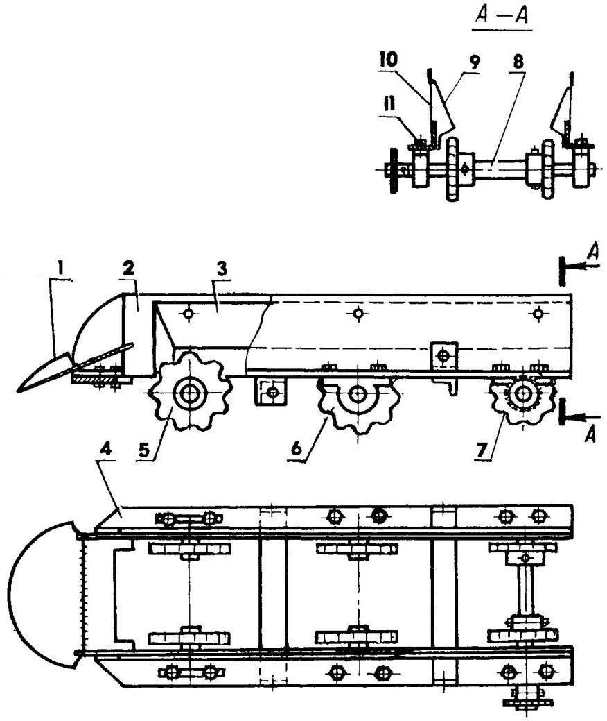 Элеватор (транспортер и скаты иа виде сверху условно не показаны)