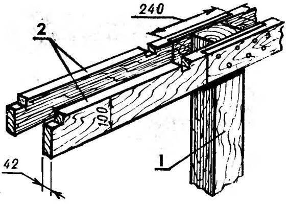 Узел соединения стойки (1) и продольных лаг (2)