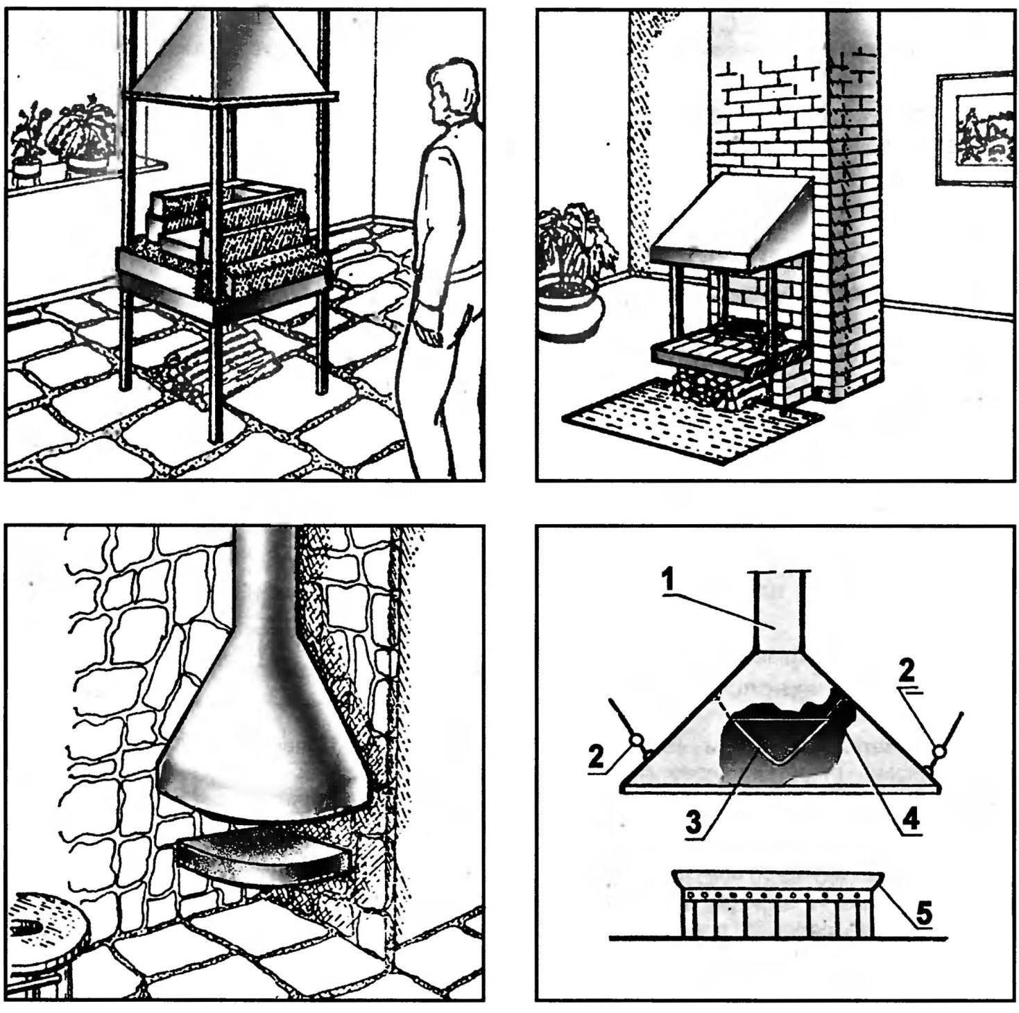 Рис. 9. Камины с открытым топливником и схема колпака-дымосборника