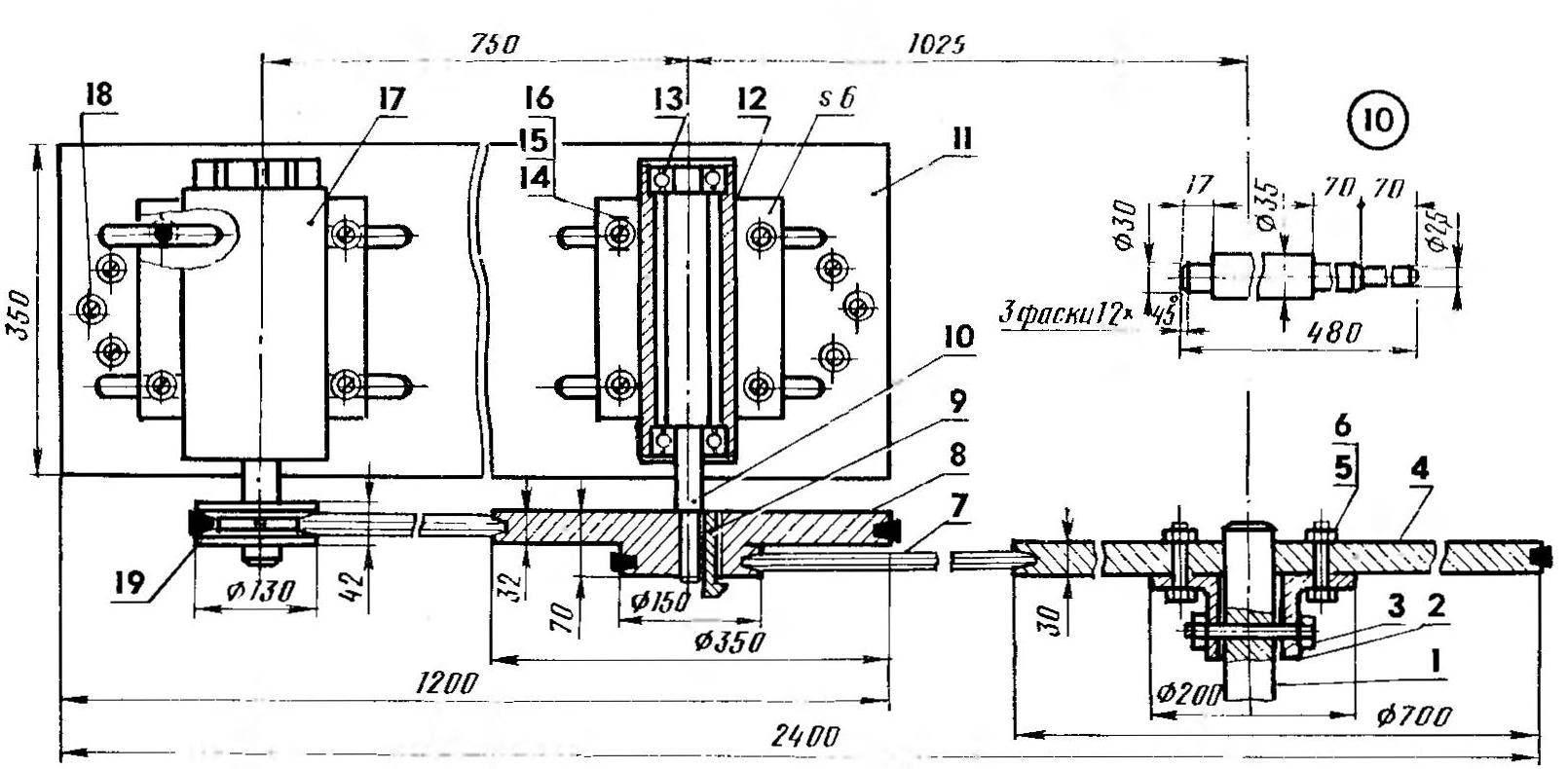 Кинематика одного из вариантов самодельной гидростанции с деталировкой основных узлов (рабочее колесо турбины условно не показано):