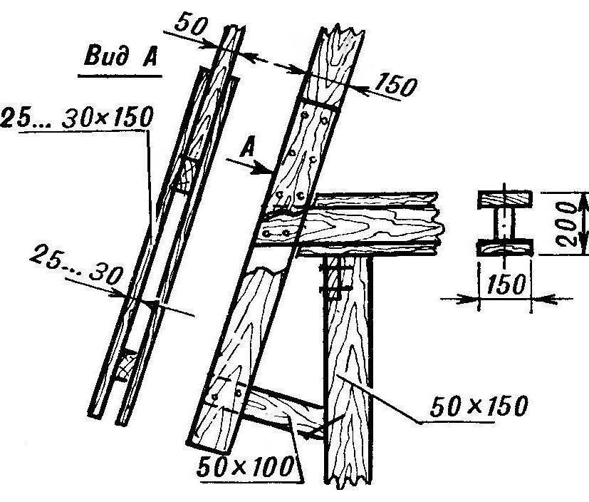 Схема стыковки стропил с балками перекрытия второго этажа