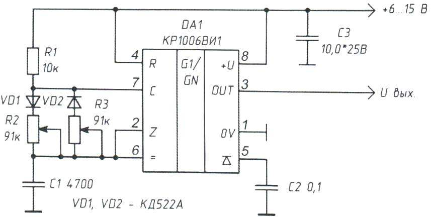 Рис. 1. Электрическая схема мультивибратора на микросхеме КР1006ВИ1, включённого в автоколебательном режиме