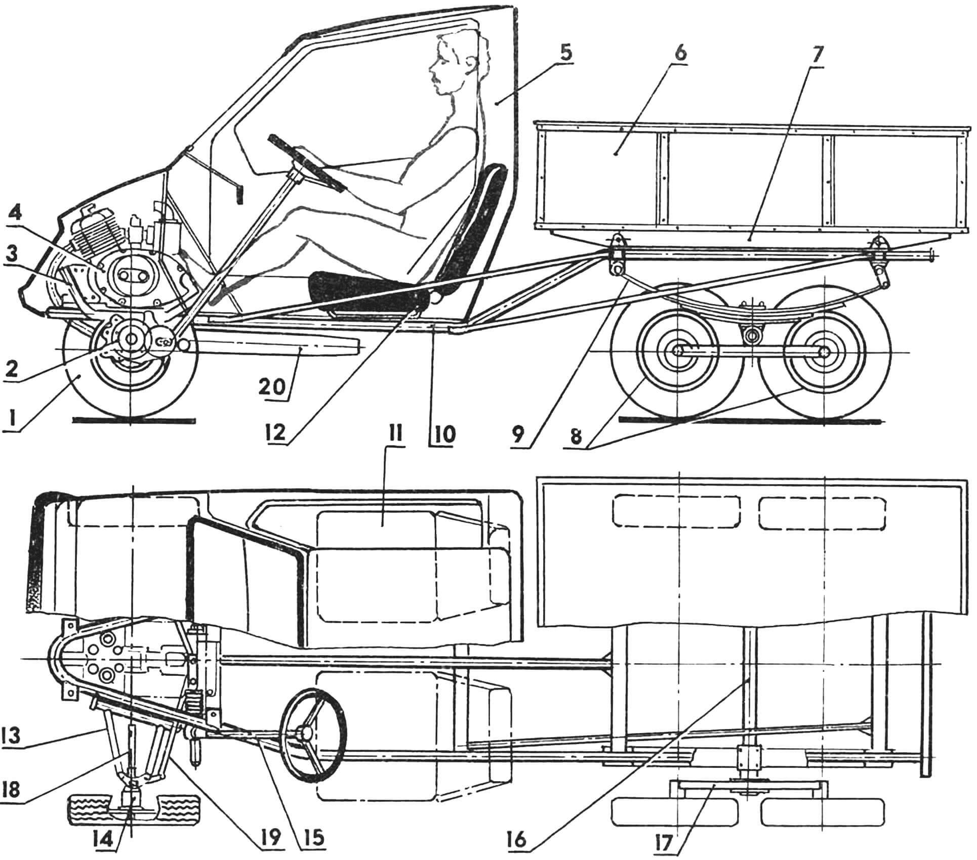 Р и с. 2. Компоновка мотогрузовичка