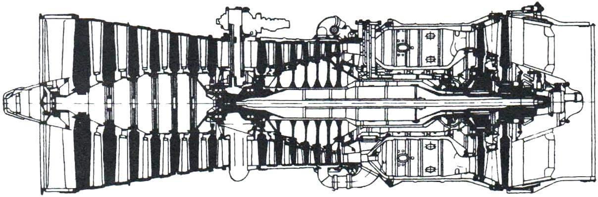 Конструктивная схема турбореактивного двигателя с форсажной камерой «Олимп-593» для сверхзвукового англо-французского самолёта «Конкорд»