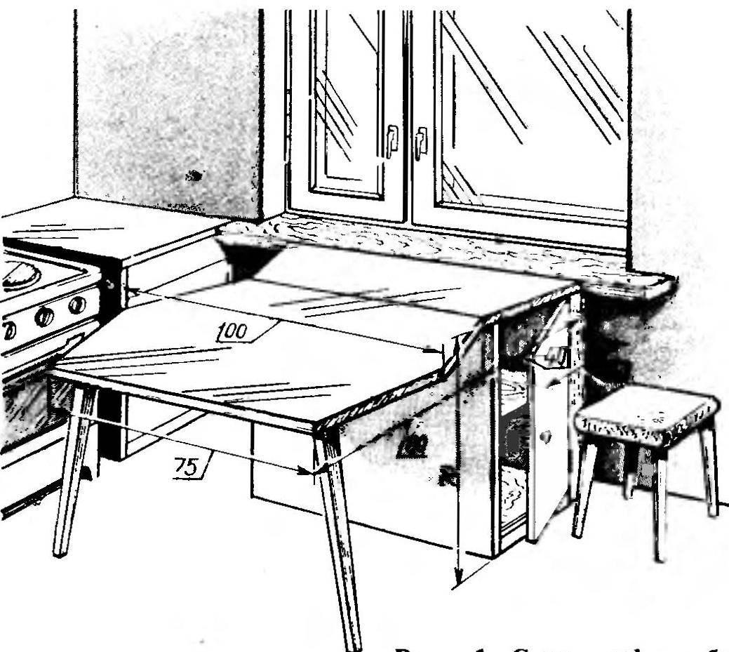 Рис. 1. Стол-шкаф в рабочем положении