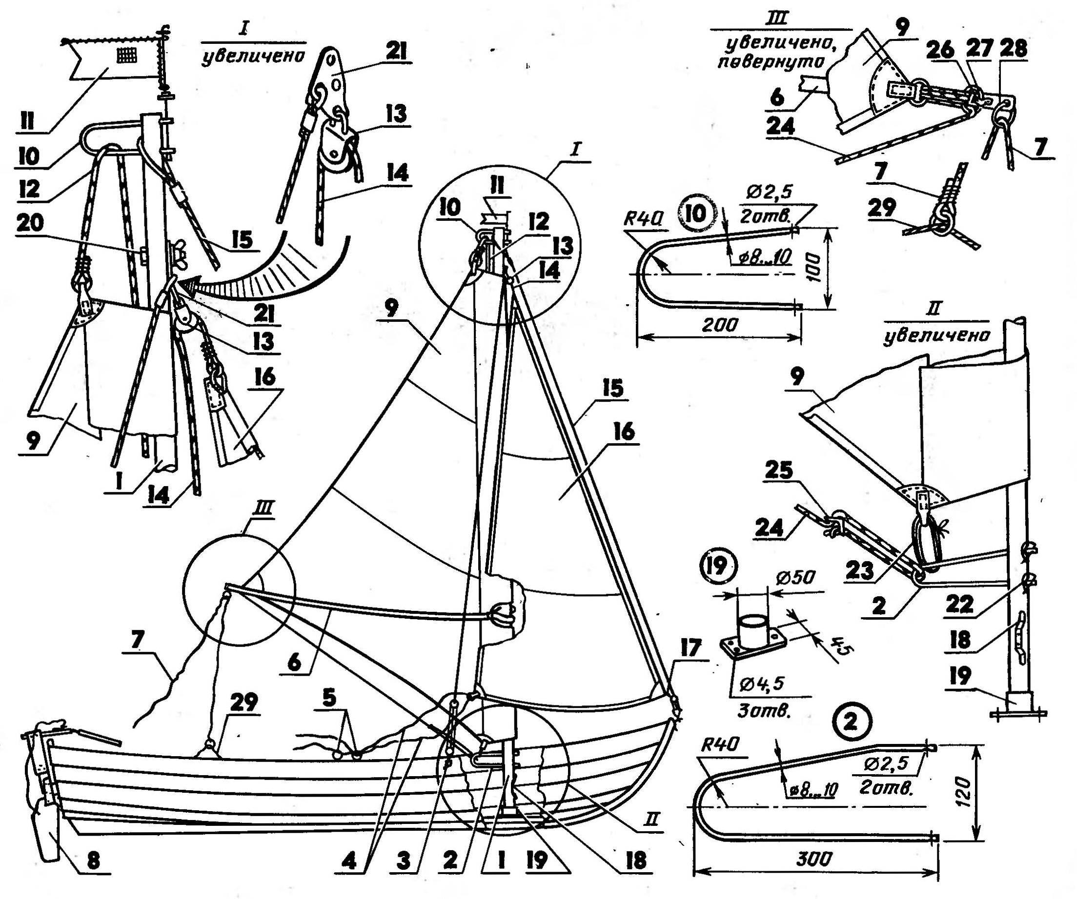 Оснащение гребной лодки парусным вооружением