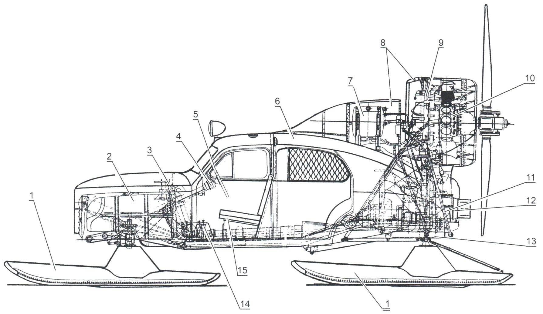 Компоновка аэросаней «Север-2»