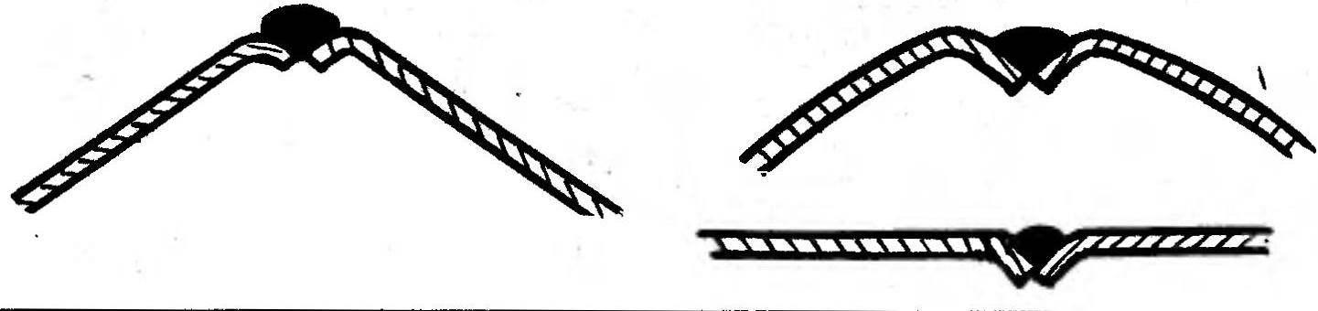 Рис. 3. Схема наиболее рациональных сварных швов, применяемых при сборке корпуса-монокока