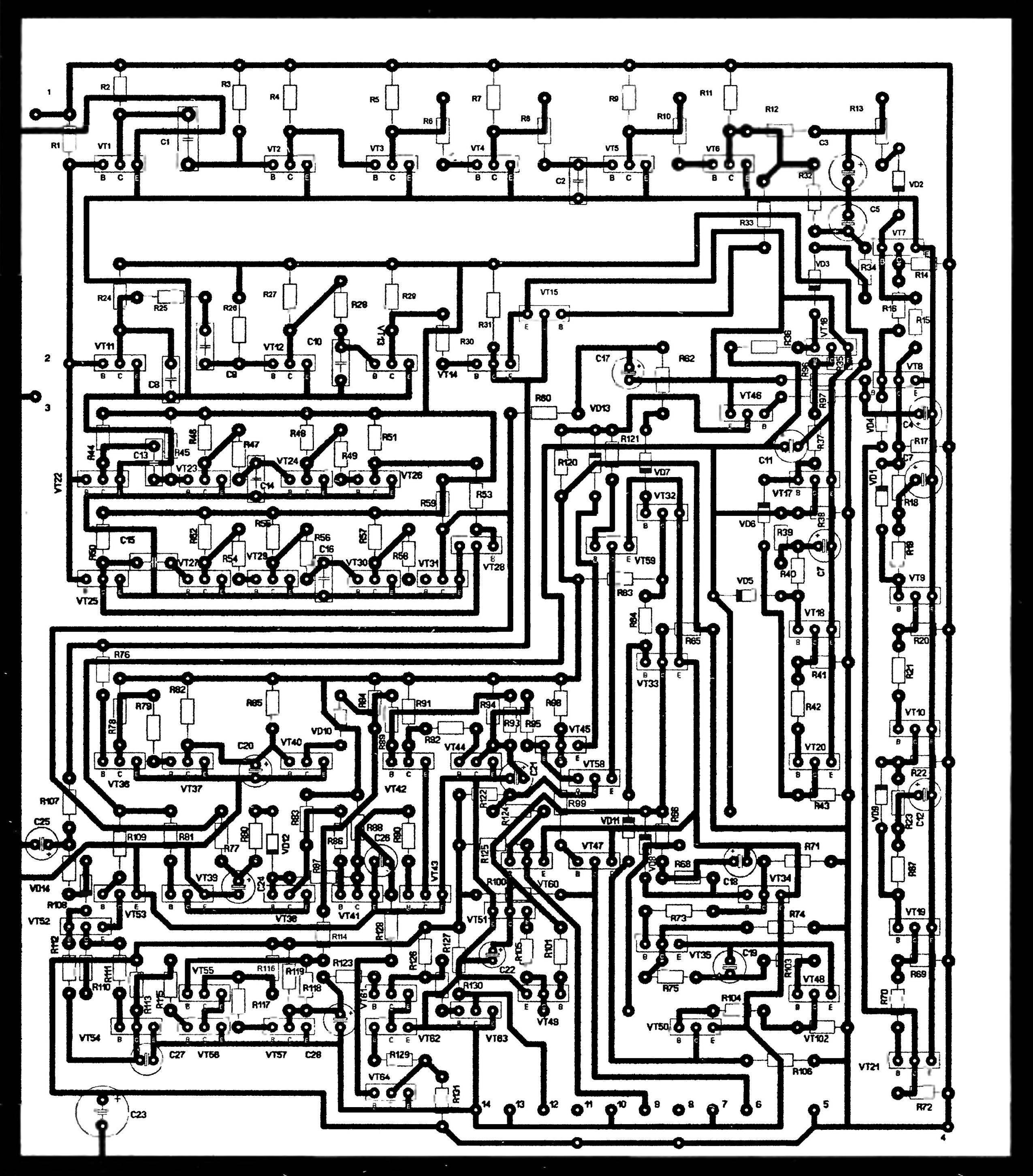 Рис. 2. Топология печатной платы пульта управления (обозначения базы, коллектора и эмиттера транзисторов — латинскими буквами В, С и Е соответственно)