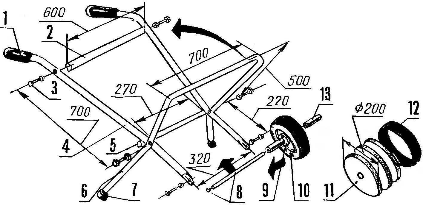 Сборка каркаса и колесного узла (вариант)