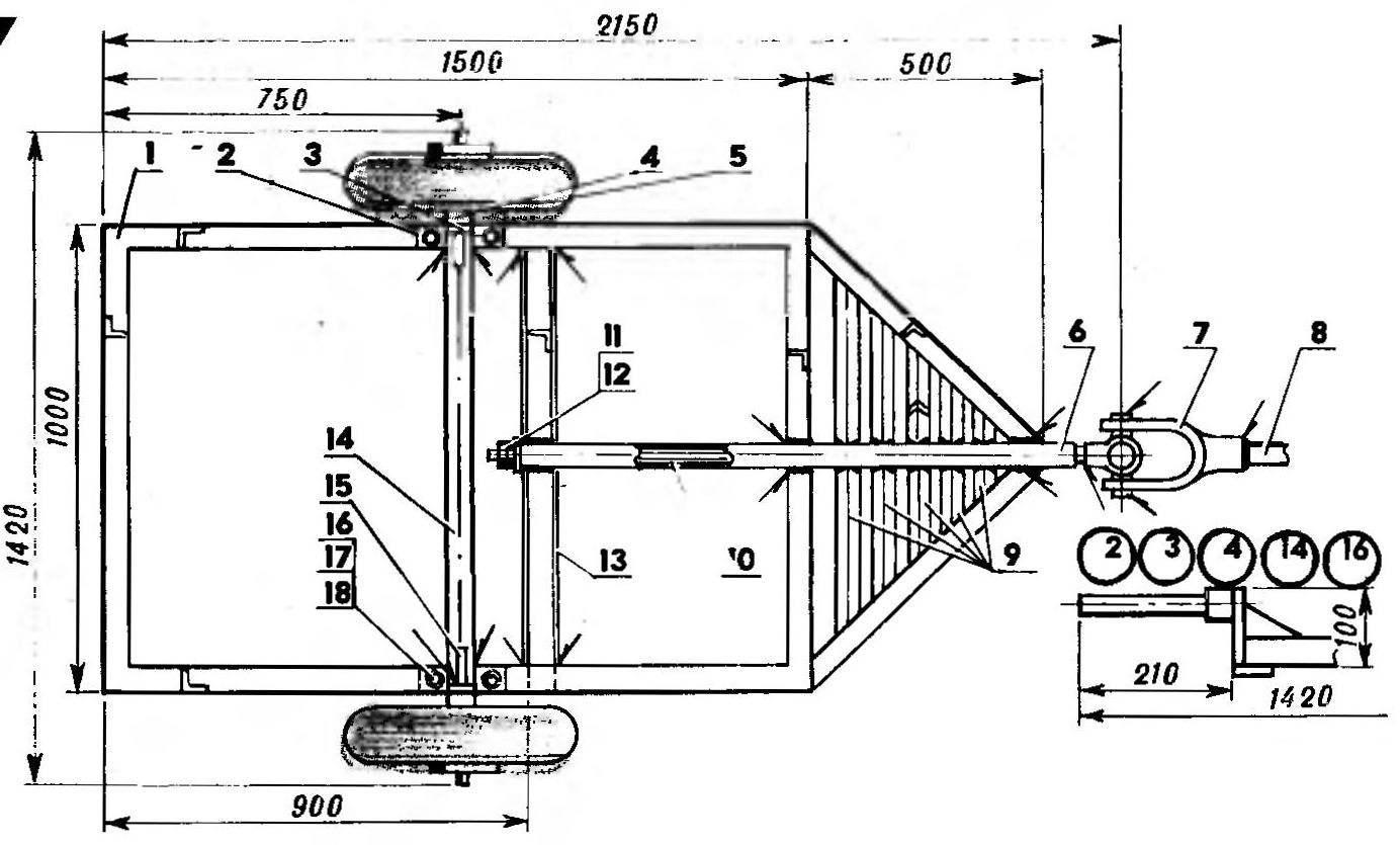Основание прицепа с поворотным узлом (вид снизу)