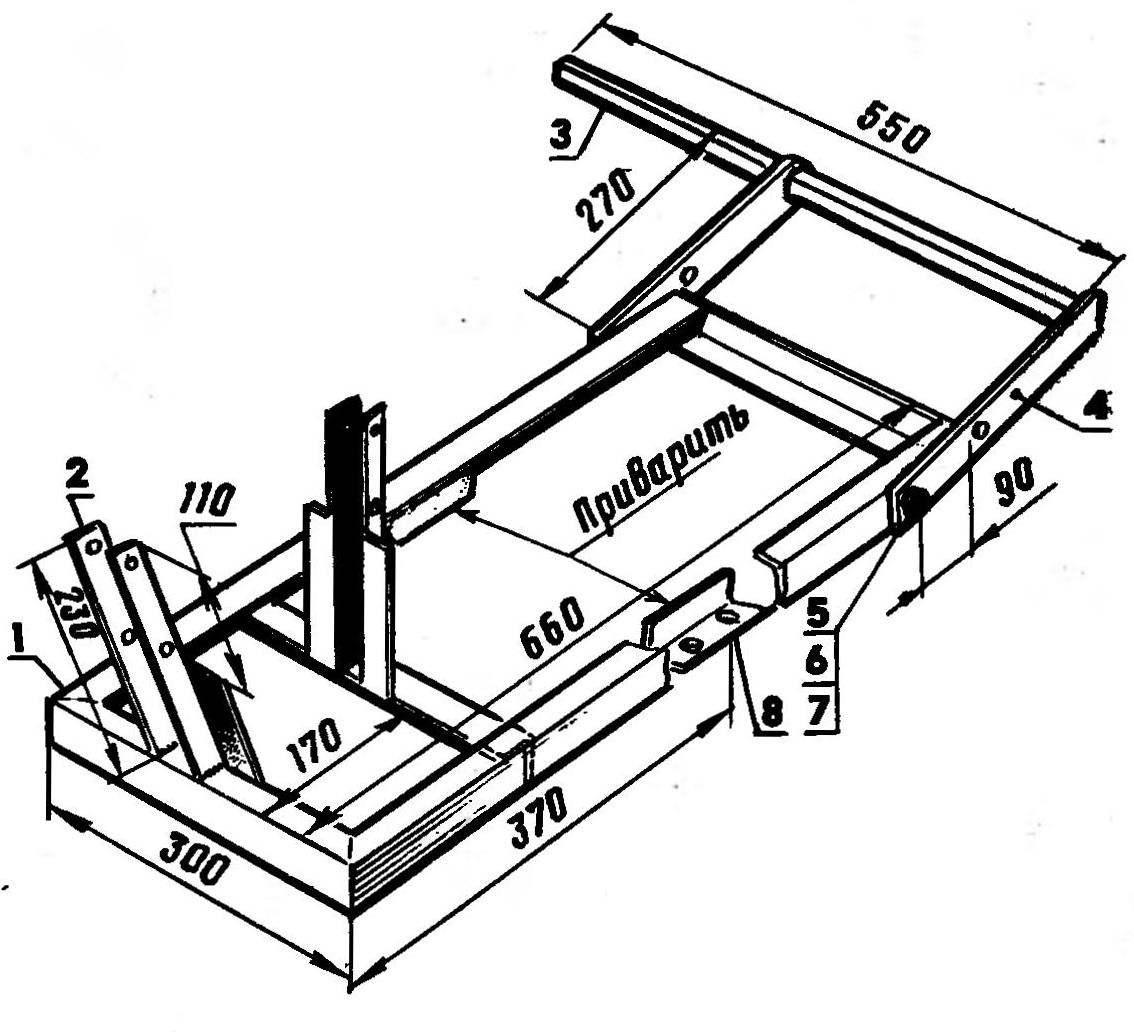 Рама со стойками и механизмом навески