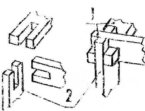 Рис. 3. Стволовой узел соединенных (1) и вертикального (2) элементов каркаса