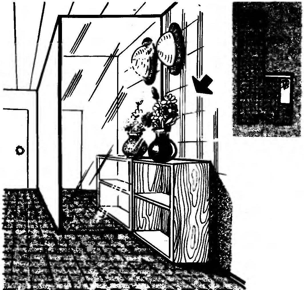 Р и с. 1. Прихожая с «зеркальным» выступом. Справа — план помещения