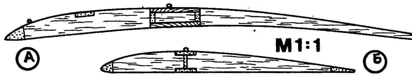 Р и с. 2. Профили крыла (А) и стабилизатора (Б) модели Байта