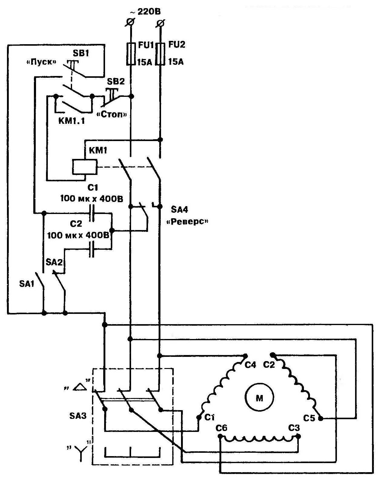 Принципиальная электрическая схема управления электродвигтелем станка-универсала