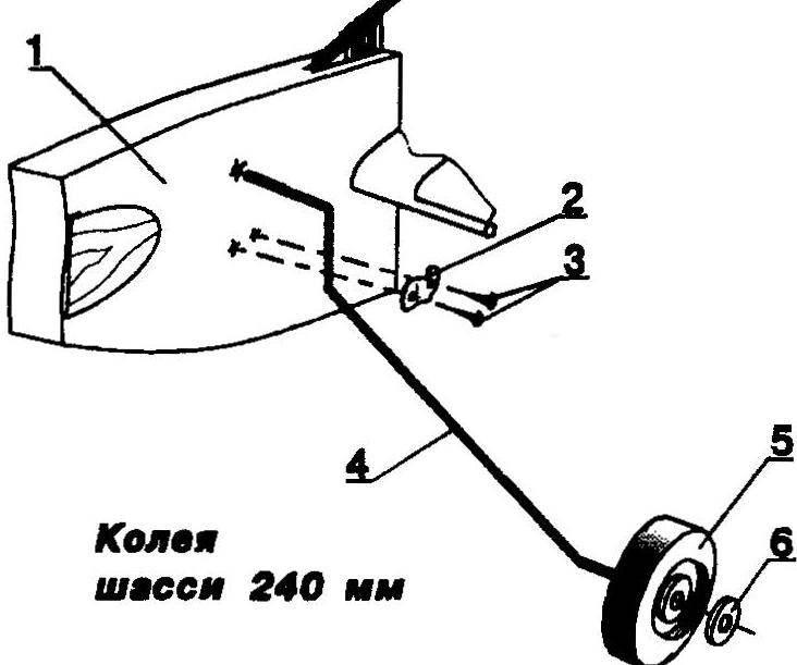 Фюзеляжная стойка и узлы шасси для модели тренировочного типа