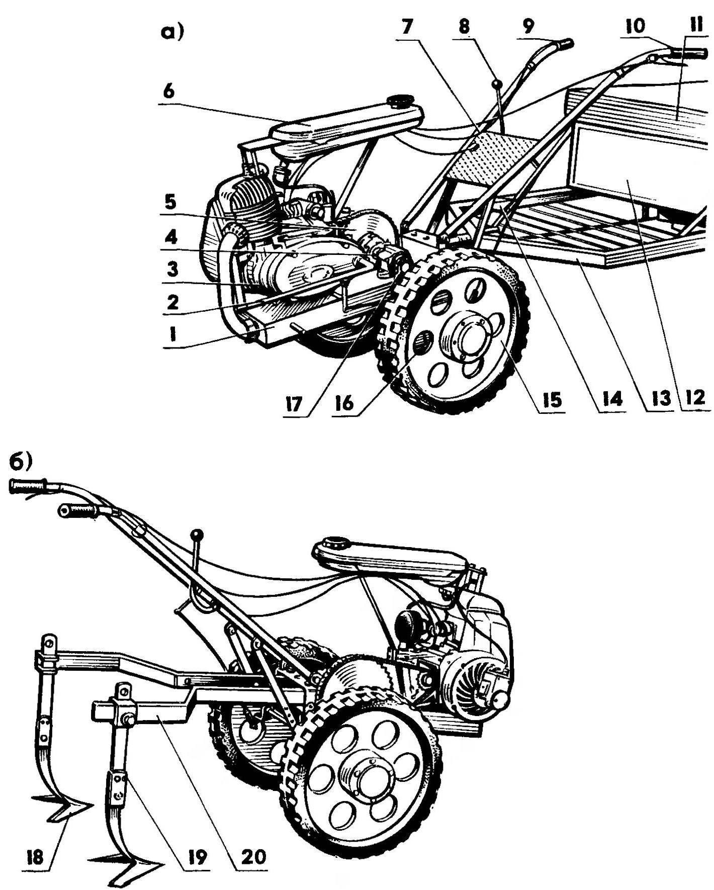 Рис.1. Мотоблок (облицовка снята), агрегатированный тележкой (а) и культиваторами (б)