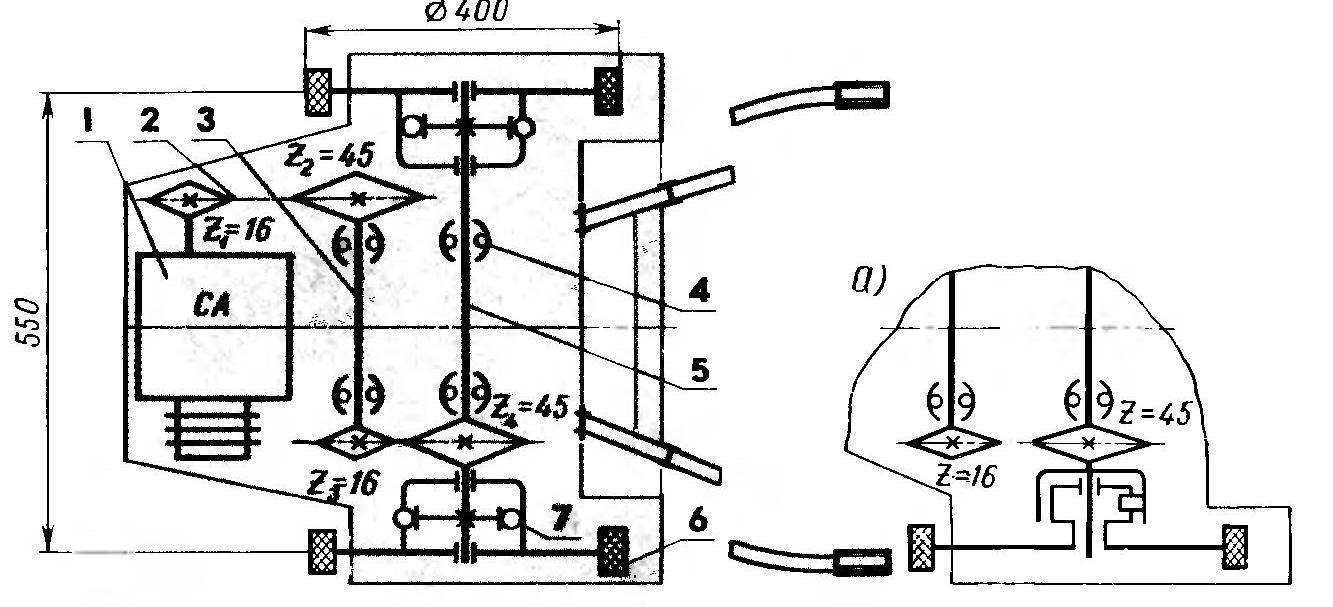 Рис.2. Кинематическая схема трансмиссии