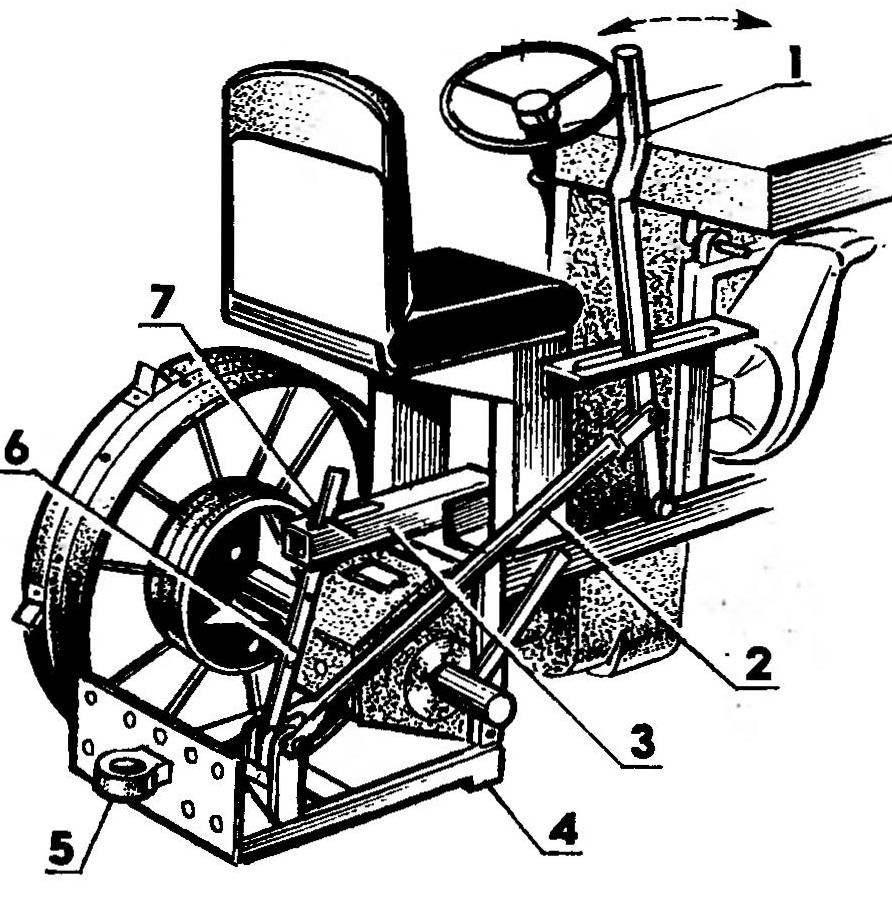 Подъемник навесных (прицепных) орудий (правое колесо условно не показано)