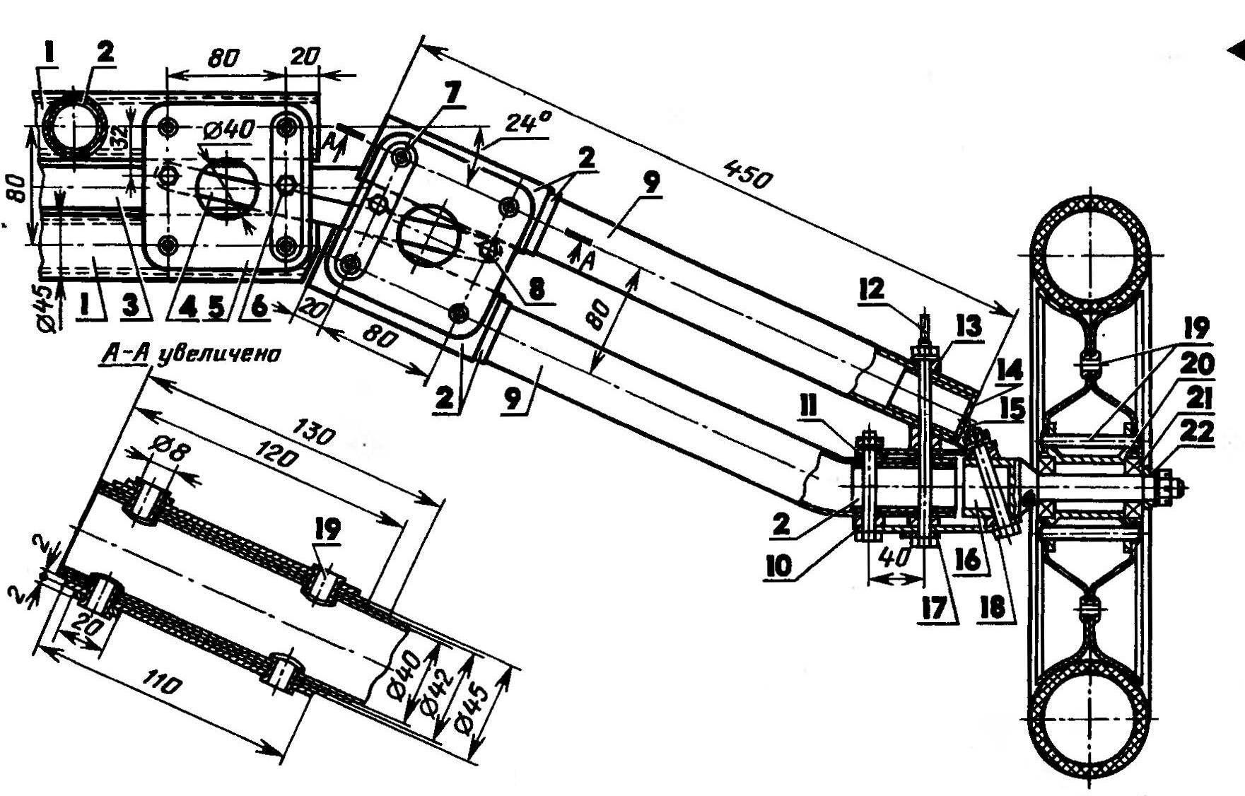 Подвеска переднего колеса (вид спереди; раскос и стойка пилона не показаны)