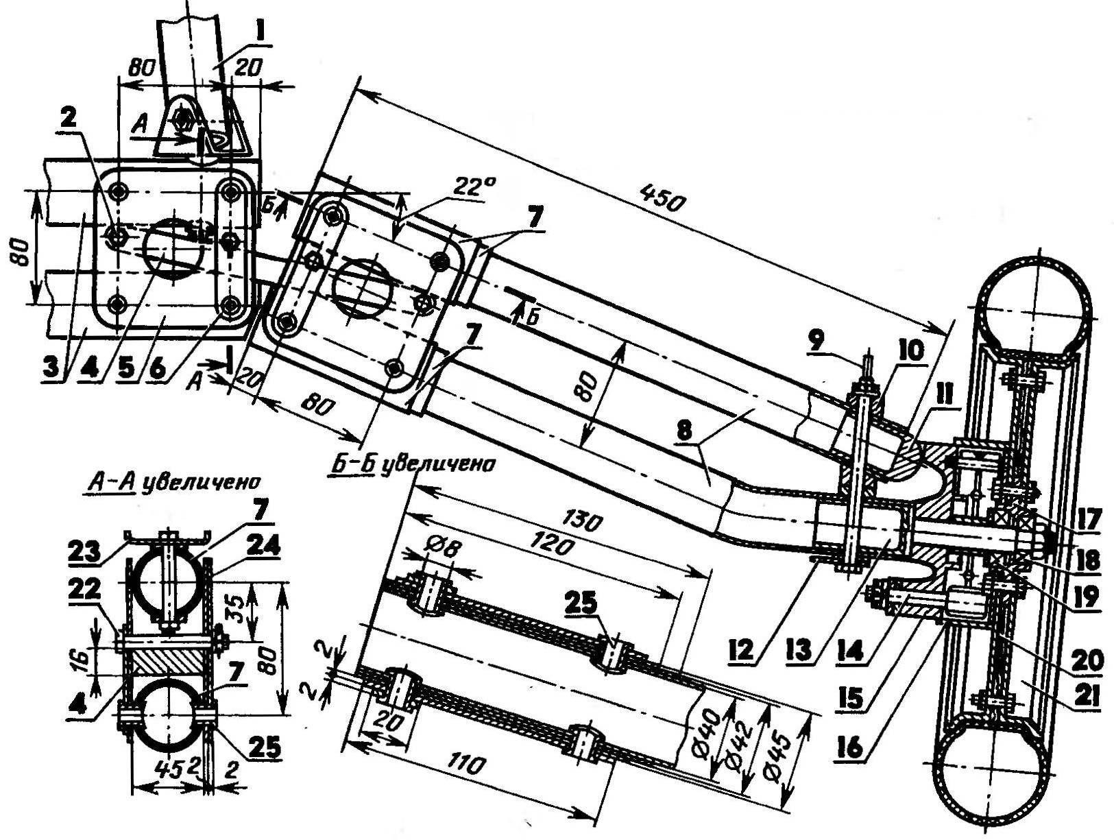 Подвеска заднего колеса (вид сзади; раскос не показан)