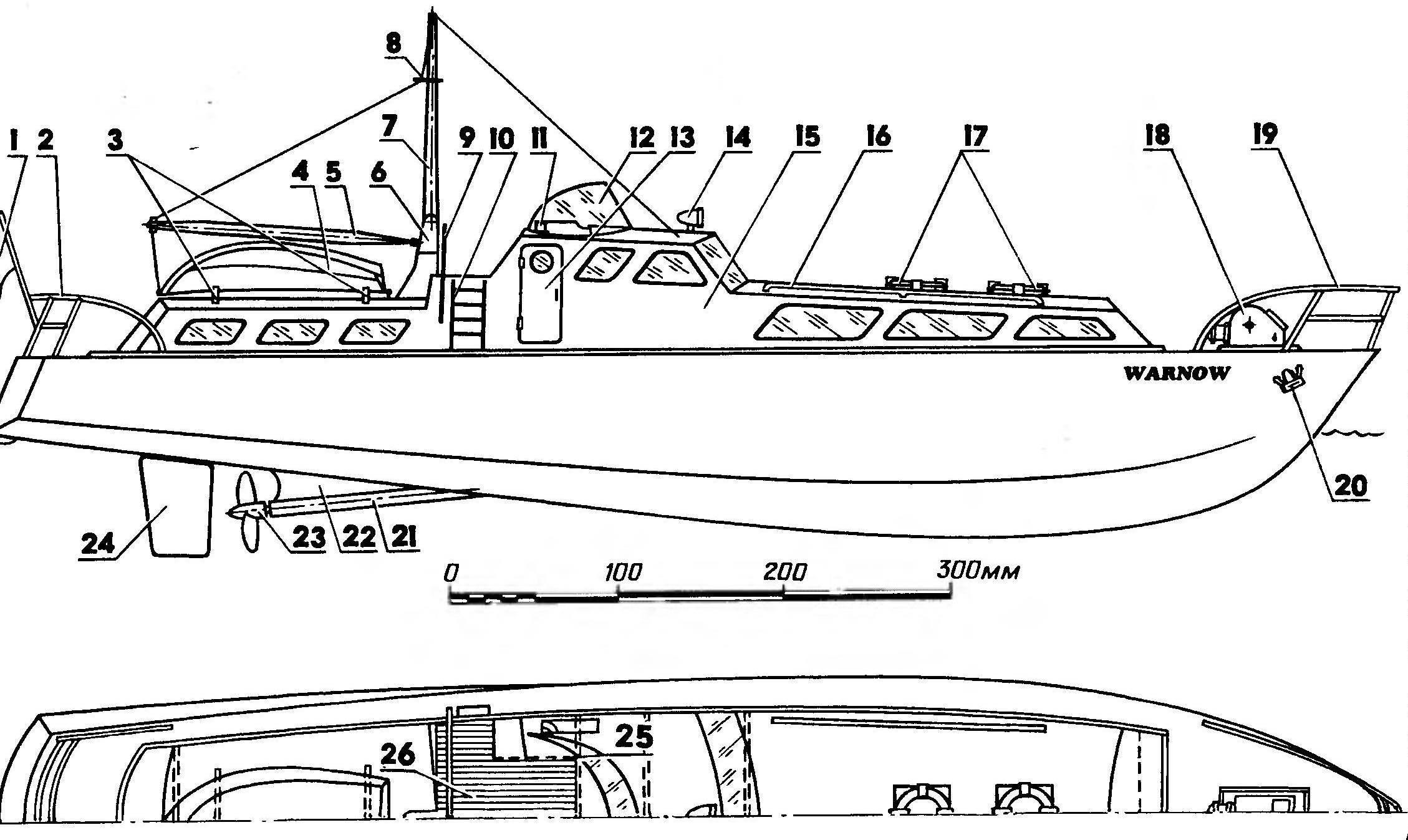 Рис. 1. Модель моторной яхты