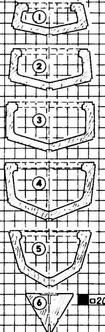 Рис. 4. выкроики шпангоутов корпуса (номера соответствуют теоретическим сечениям рис. 2)