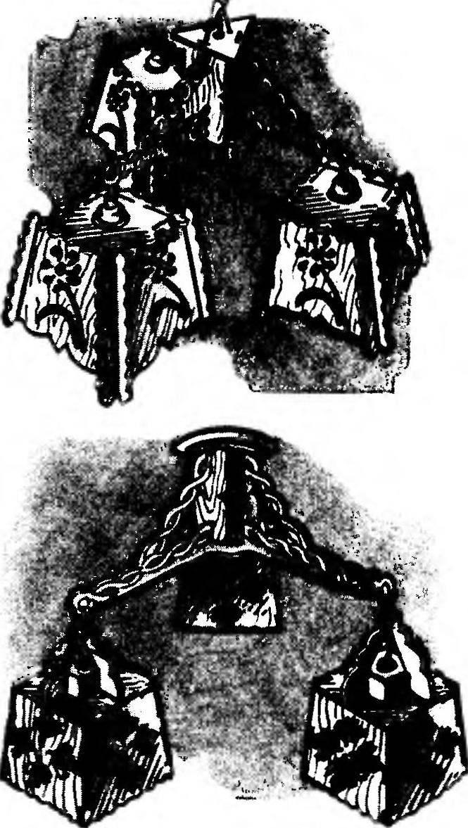 Трехрожковые потолочные люстры из прорезной фанеры