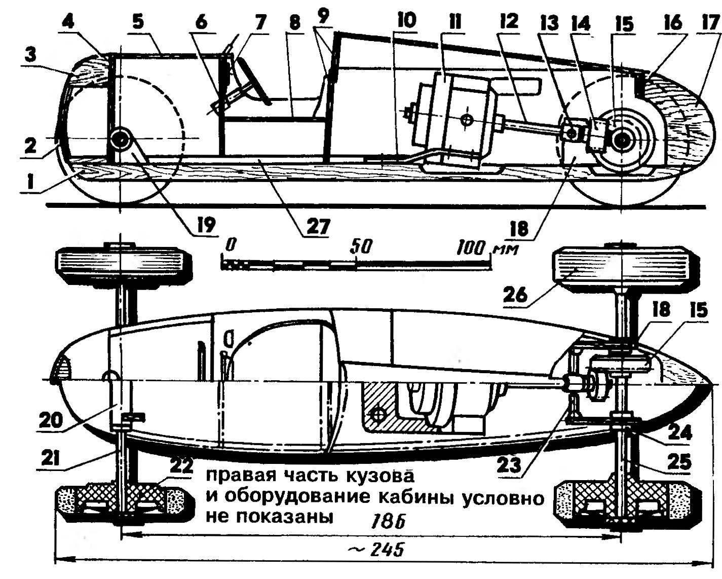 Кордовая модель-копия с электродвигателем и внешним источником питания (кордовая планка выполняется в соответствии с правилами соревнований и имеет штекерный узел токоподвода, не показанный на рисунке)