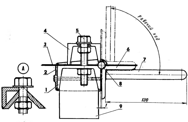 Листогиб в рабочем положении (тиски н передняя щечка условно не показаны)
