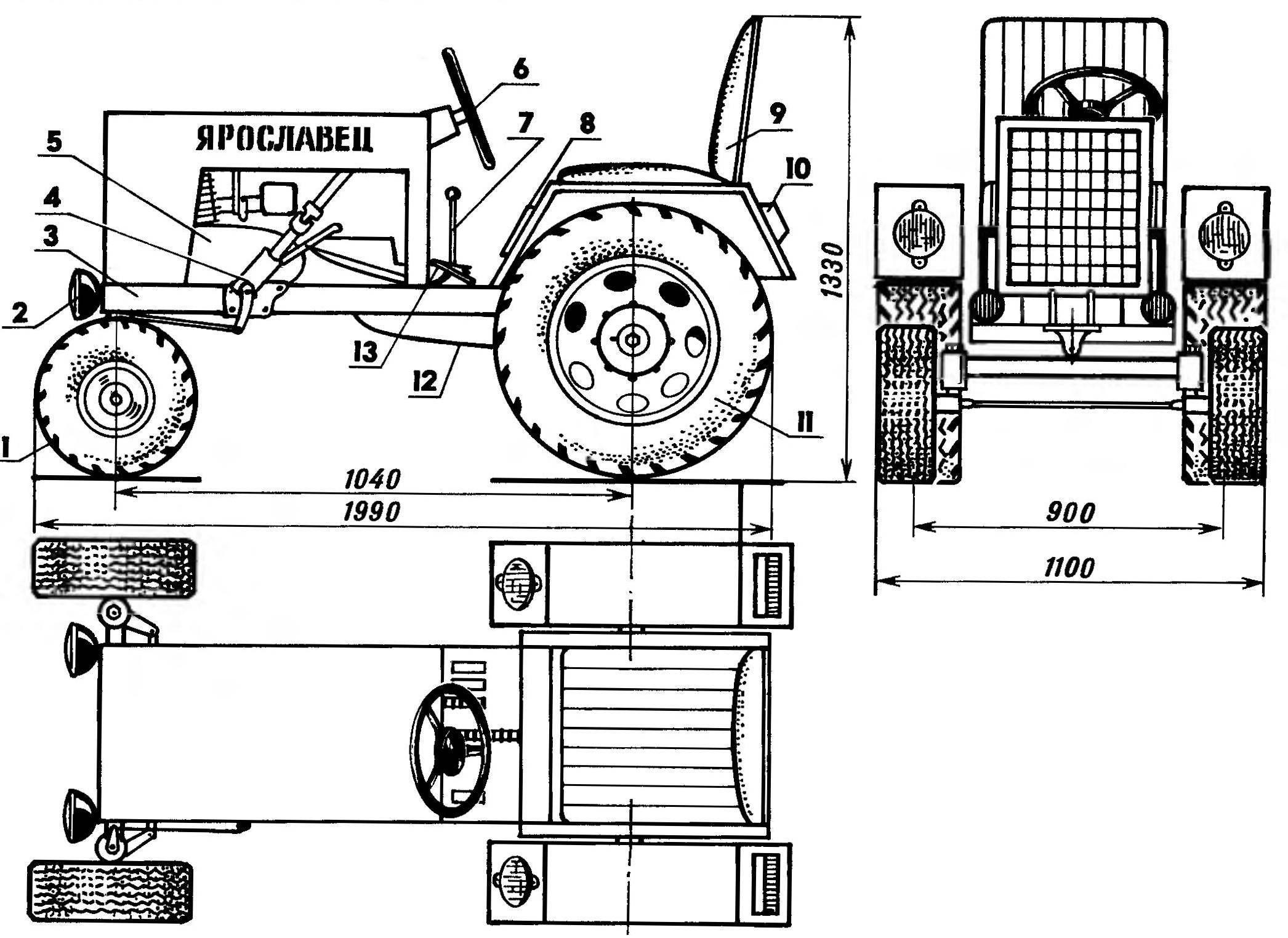 Компоновка мини-трактора