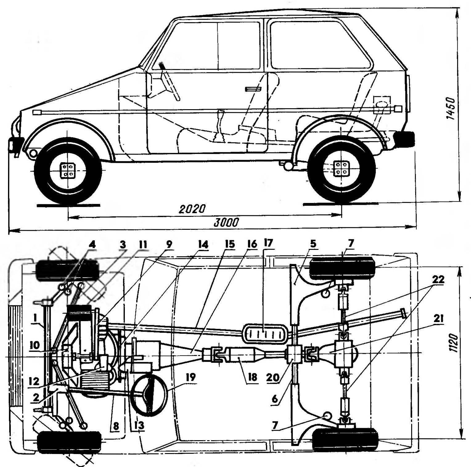 Рис. 1. Компоновка автомобиля «Люга-750»: