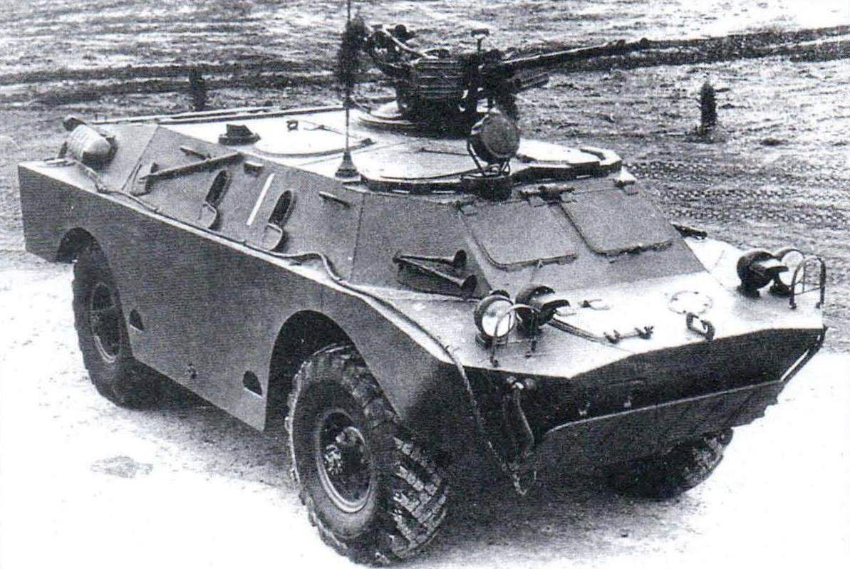 The first prototype of the BRDM-2. On the roof of the car open installed KVPT machine gun for anti-aircraft turret of the heavy tank T-10