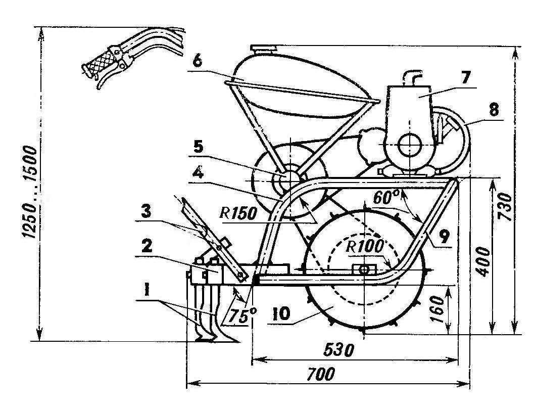 Рама и размещение основных узлов на ней (вид справа по ходу мотокультиватора)