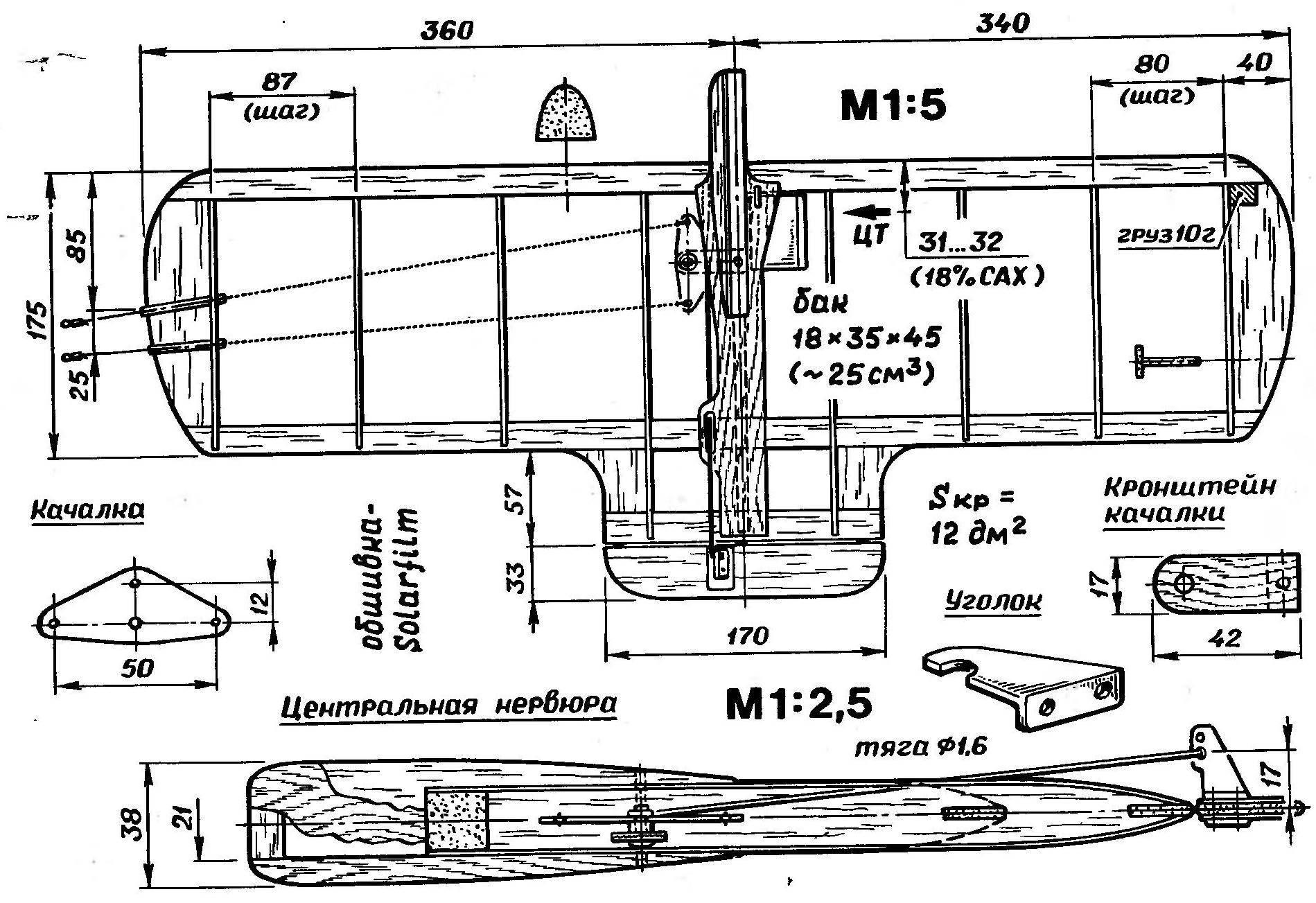 Рис. 2. Чемпионатная модель воздушного боя английских спортсменов под двигатель рабочим объемом 1...1,5 см3 («школьный» подкласс бойцовок). На фото показан монтаж предохранительн