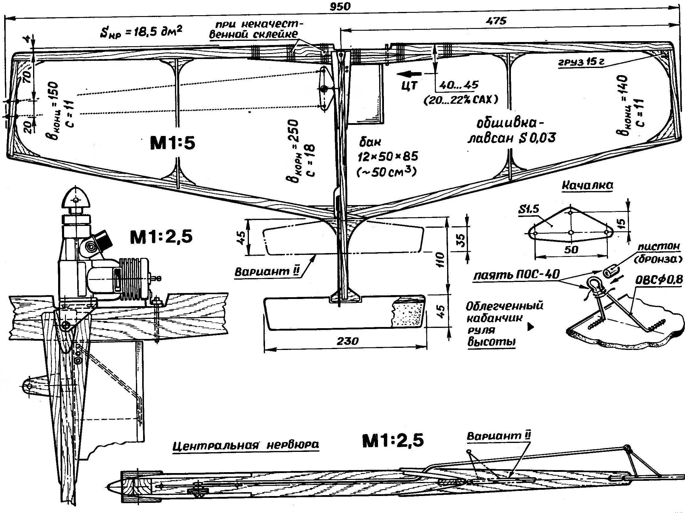 Р и с. 3. Чемпионатная модель воздушного боя отечественной разработки под двигатель рабочим объемом 2,5 см3. Основные признаки - «однонервюрная» схема и гибкий каркас крыла с уменьшенным моментом инерции. На рисунке слева приведена схема крепления двигателя на двух точках (за заднюю стенку и головку цилиндра).