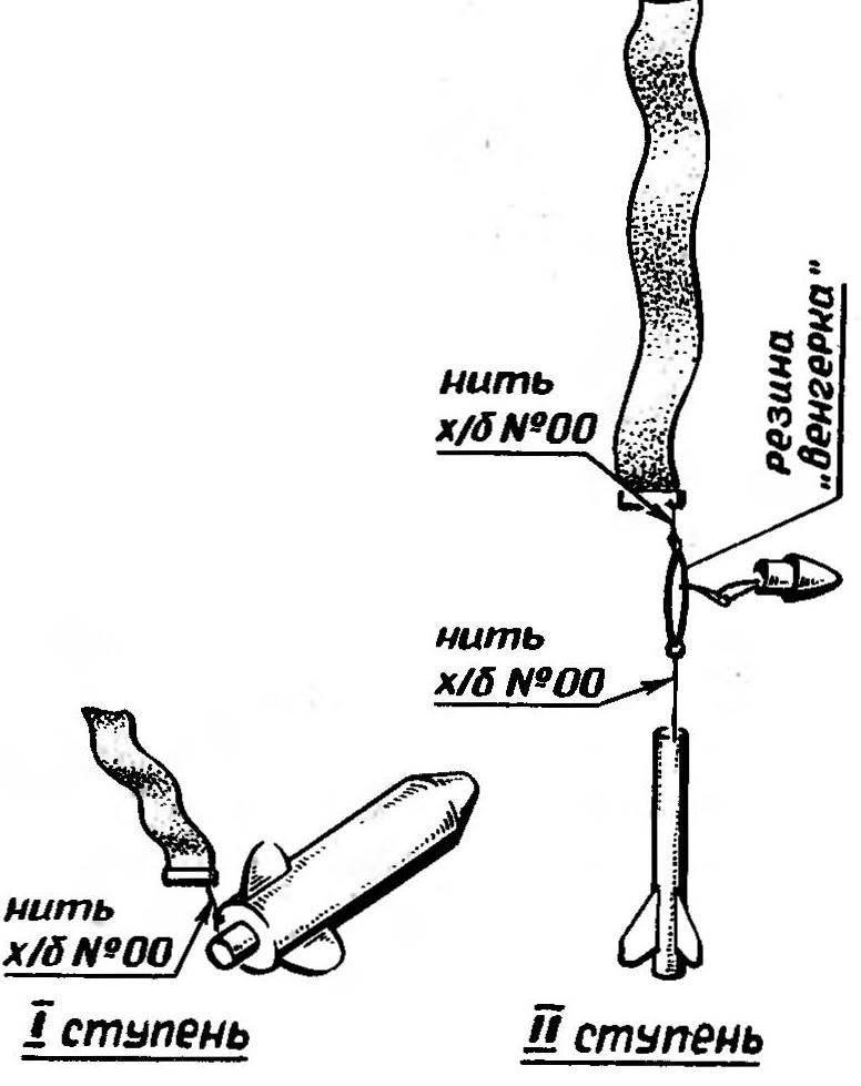 Подвязка стримеров к корпусам. Ступени показаны на спуске