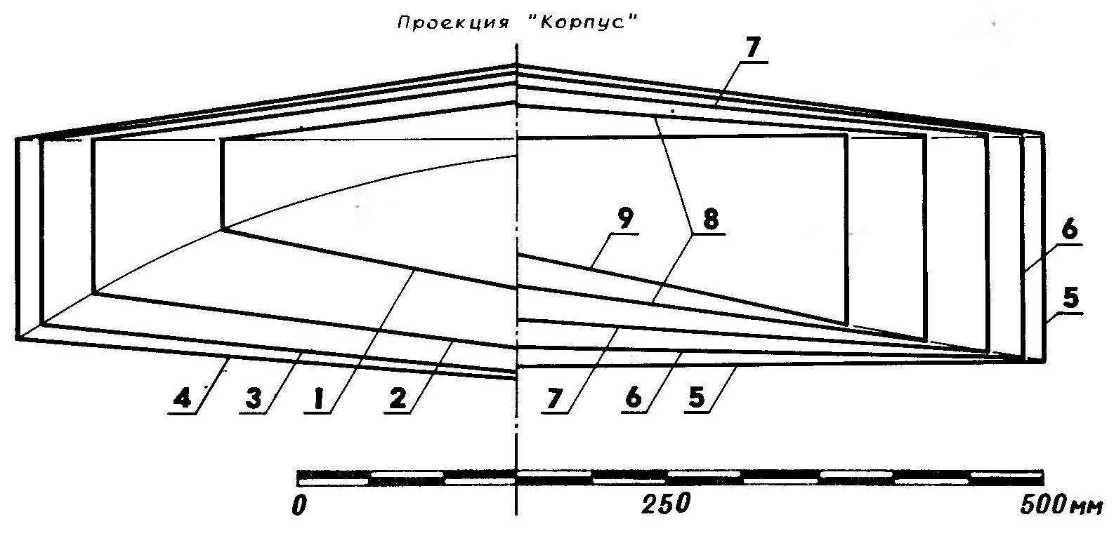 R and p. 3. The theoretical drawing of the hull of a sailing Board