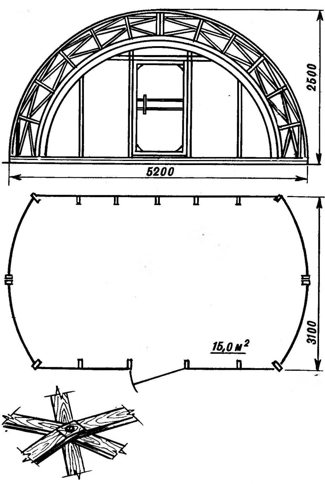 Фасад и план арочного каркаса. Внизу - типовое соеденение стержней каркаса
