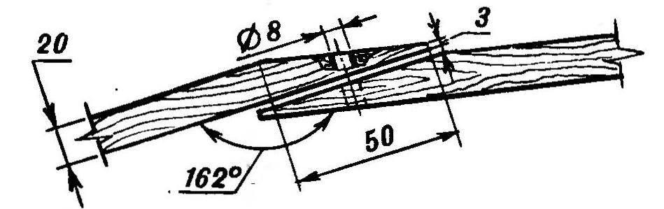 Конфигурация концов стержней арочного каркаса н схема их сопряжения (угол между сопрягаемыми стержнями — 162 градуса)