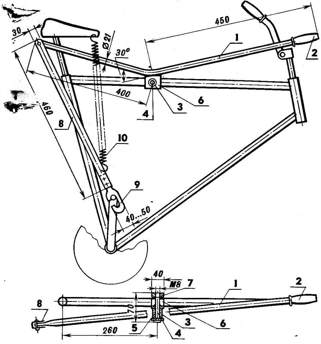 Рис. 1. Ручной привод для велосипеда
